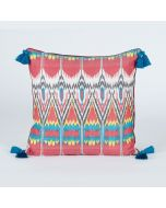 Rustic summer Red 20x20 Ikat Cotton Silk Cushion Cover