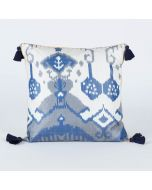 Gardenia Blue 20x20 Ikat Silk Cushion Cover