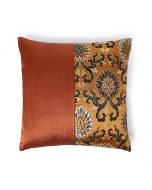 Fire Ardh Rust Olive 24X24 Silk Gyasar And Silk Satin Cushion Cover