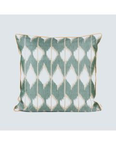 Rhombus Basil 20x20 Ikat Cotton Silk Cushion Cover