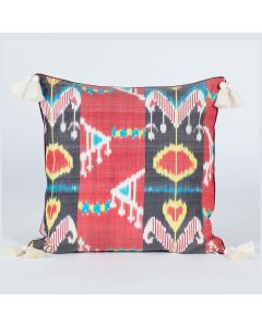 Uzbec floral Red Black 20x20 Ikat Silk Cushion Cover