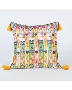 Folklore Yellow 20x20 Ikat Silk Cushion Cover