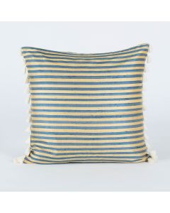 Ribbon Stripe Blue Yellow 20x20 Silk Handwoven Cushion Cover