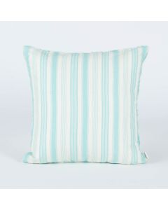 Tuscan Stripe Aqua 18X18 Handwoven Cotton Linen Kutchi Weaving Cushion Cover