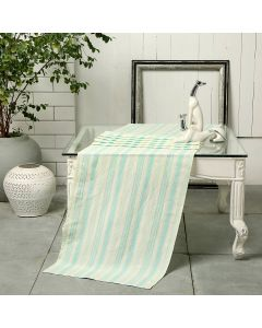 Tuscan Stripe Mint 90X18 Cotton Linen Kutchi Weaving Table Runner