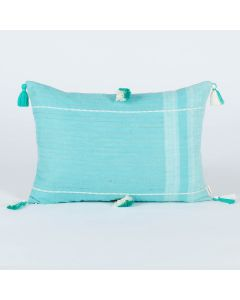 Mandolin Aqua 14X20 Handwoven Cotton Linen Kutchi Weaving Cushion Cover