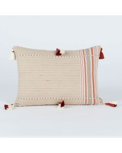 Mandolin Natural 14X20 Handwoven Cotton Linen Kutchi Weaving Cushion Cover