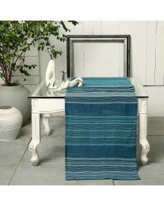 Calypso Stripes Blue 90X18 Cotton Linen Kutchi Weaving Table Runner