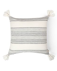 Calypso Stripes Natural 18X18 Handwoven Cotton Linen Kutchi Weaving Cushion Cover