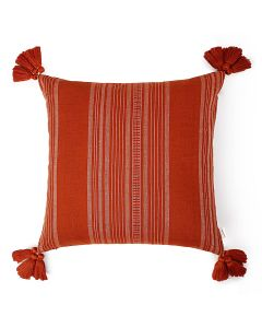 Calypso Stripes Rust 18X18 Handwoven Cotton Linen Kutchi Weaving Cushion Cover