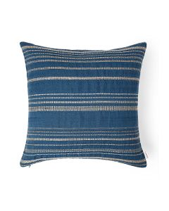 Evening Sand Blue 18X18 Cotton Linen Tussar Kutchi Weaving Cushion Cover