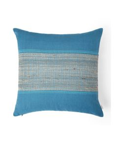 Bloc Stripe Blue 18X18 Cotton Linen Kutchi Weaving Cushion Cover