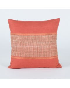 Block Stripe Rust 18X18 Handwoven Cotton Linen Tussar Kutchi Weaving Cushion Cover