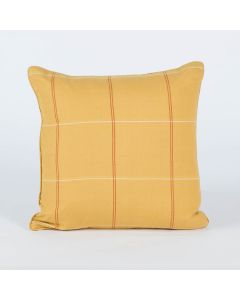 Grid Checks Ochre 18X18 Handwoven Cotton Kutchi Weaving Cushion Cover