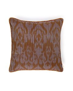 Pintucked Zigzag Brown Blue 18X18 Cotton Silk Ikat Cushion Cover