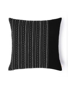 Bead Stripe Black 18X18 Handwoven Cotton Linen Kutchi Weaving Cushion Cover
