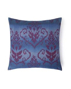 Arbesque Blue 20X20 Cotton Silk Ikat Cushion Cover