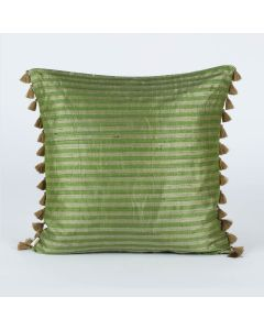 Ribbon Stripe Green 20x20 Silk Handwoven Cushion Cover