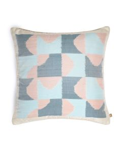 Wind Blue 18X18 Handwoven Silk Cotton Ikat Cushion Cover